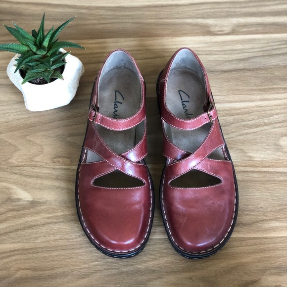 ff7f7222cf5 Clarks Shoes - Clarks Red Leather Shoes Dress Sandals Sneakers